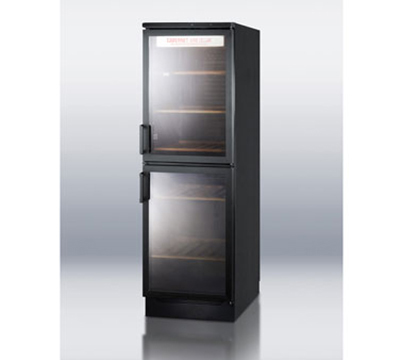 Summit Refrigeration SWC1775 Deluxe Wine Cellar w/ 120-Bottle Capacity, Temperature Display & Auto Defrost, Black