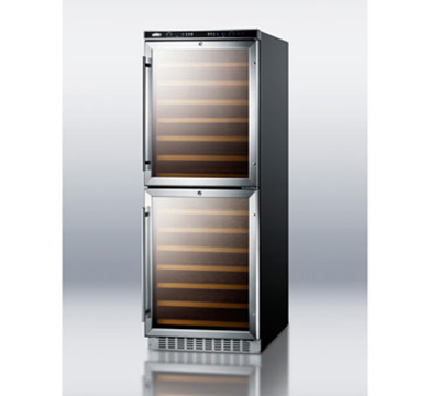 Summit Refrigeration SWC1875 Deluxe Wine Cellar w/ Dual Zone, 108-Bottle Capacity & Digital Thermostat, Black