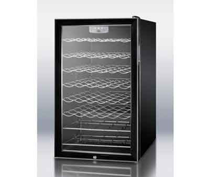 Summit Refrigeration SWC525L7 20-in Undercounter Wine Cellar w/ Reversible Glass Door, 4.5-cu ft, Black