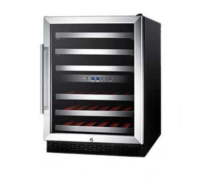 Summit Refrigeration SWC530LBIST Wine Cellar w/ 2-Zones, Reversible Locking Door & Auto Defrost, 115v, Black