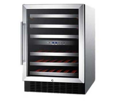 """Summit Refrigeration SWC530LBISTCSSAD 23.63"""" One Section Wine Cooler w/ (2) Zones - 36-Bottle Capacity, 115v"""
