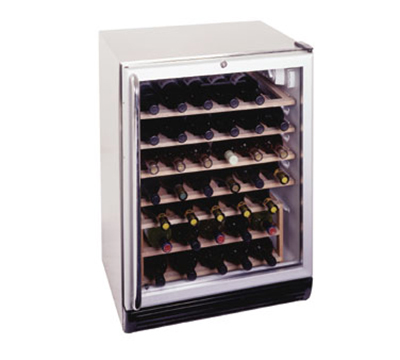 Summit Refrigeration SWC6GBLCSSWO Wine Cellar w/ 48-Bottle Capacity, Wooden Shelves & Auto Defrost, 115v, Stainless