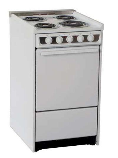 Summit Refrigeration WEM115R 20-in Range w/ Removable Top, Low Backguard & Broiler In Oven, 220/1V, White