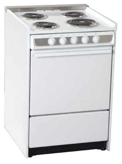 Summit Refrigeration WEM619RW 24-in Range w/ Removable Top, Handle, Window & Oven Storage, White