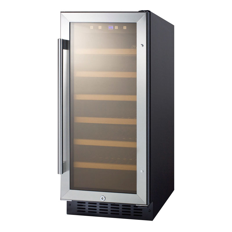 Summit Refrigeration SWC1535B 15-in Wine Cellar w/ Digital Controls, LED Lights & Auto Defrost, Black