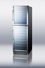 Summit Refrigeration SWC2149 24-in Wine Cellar w/ 2-Temp Zones & 2-Glass Doors, 149-Bottle Capacity, Black