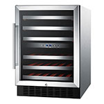 Summit Refrigeration SWC530LBISTCSS Wine Cellar w/ 2-Zones, Reversible Locking Door & Auto Defrost, Stainless