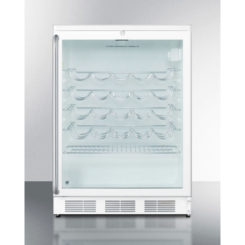 Summit Refrigeration SWC6GWLSH Wine Cellar w/ 50-Bottle Capacity, Front Lock & Auto Defrost, Stainless