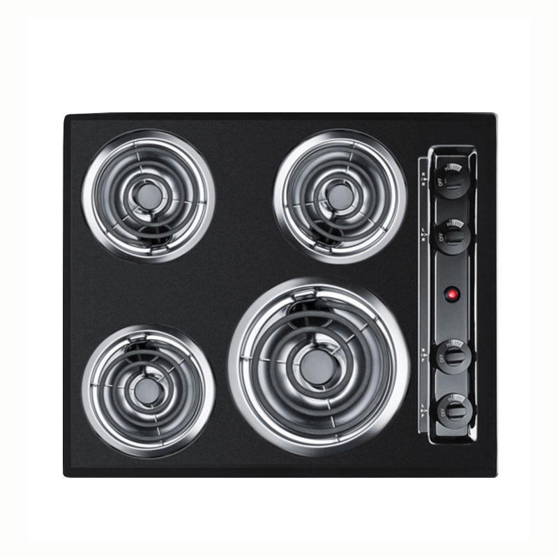 Summit Refrigeration TEL03 24-in Cooktop w/ 8-in Element & (3)6-in Coil Elements, Porcelain, 220/1V, Black