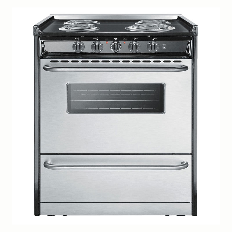 "Summit Refrigeration TEM210BRWY á30"" Slide-In Electric Range - 4-Element, Lower Storage, Black/Stainless, 220v"