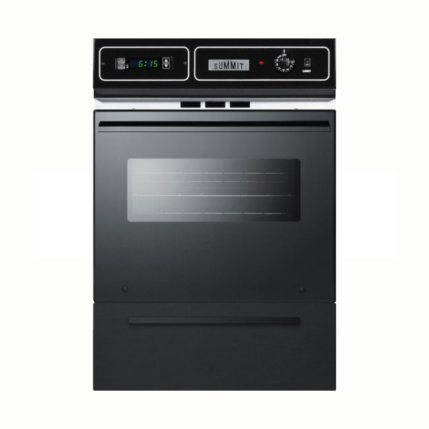 Summit Refrigeration TEM721DK Wall oven w/ Electronic Ignition, Digital Clock & Oven Window, 34.5x24x24-in, Black