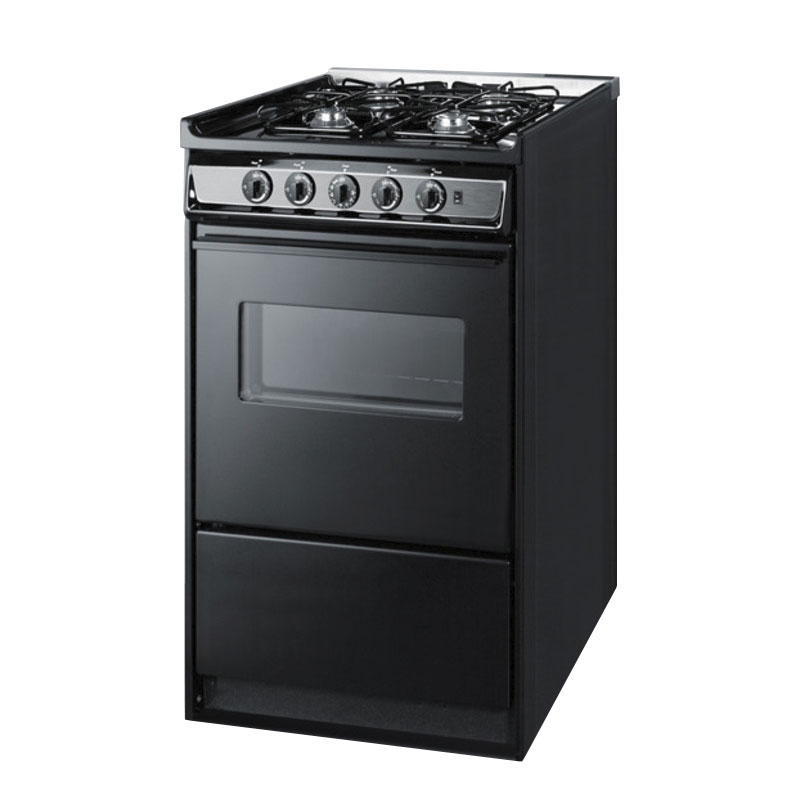 Summit Refrigeration TNM114RW Gas Range Elec Ignition Black Door w/ Window Oven Light 9000BTU 20in Restaurant Supply