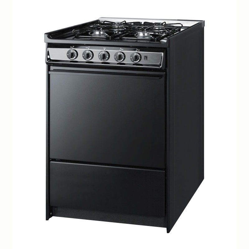 Summit Refrigeration TNM616R NG 24-in Range w/ Electric Ignition, Sealed Burners, Handle & Boiler Tray, Black, LP