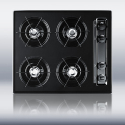 "Summit Refrigeration TTL03P 24"" Cooktop w/ 4-Burners, Battery Start Ignition & Recessed Top, Porcelain, Black"