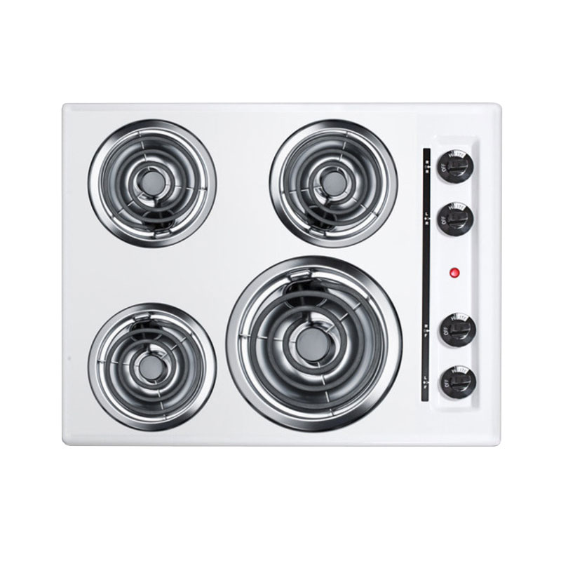 Summit Refrigeration WEL03 24-in Cooktop w/ (1)8-in Coil Element & (3)6-in Coil Elements, 3.75x24x20-in, White
