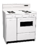 Summit Refrigeration WNM4307KW NG 36-in Deluxe Range w/ Electronic Ignition, Clock & Oven Window, White, 2.92-cu ft, NG
