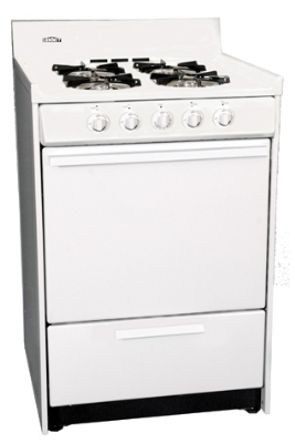 Summit Refrigeration WNM6107F NG 24-in Range w/ Electronic Ignition, 4-Sealed Burners & Handle, White,
