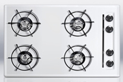 "Summit Refrigeration WTL05P 30"" Cooktop - 4-Burner, Recessed Top, Battery Start Ignition, White"