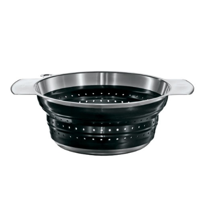 Rosle 16124 9.4-in Collapsible Colander, Stainless Steel, Black