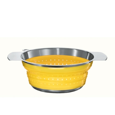 Rosle 16129 9.4-in Collapsible Colander, Stainless Steel, Yellow