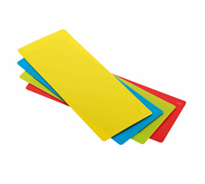 Rosle 15016 4-Space Saving Cutting Mats w/ Non Slip Reverse Side & Flexible, 7.1x17.7-in