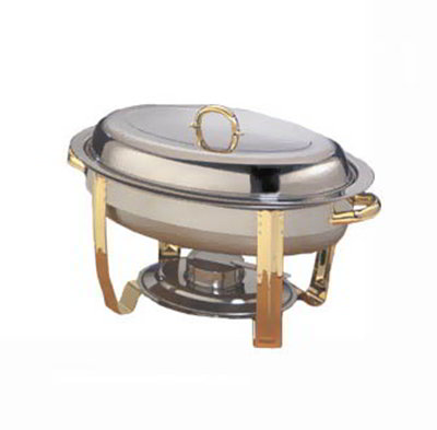 American Metalcraft ALLEGOV20 Oval Chafer w/ 6-qt Capacity, Gold/Stainless