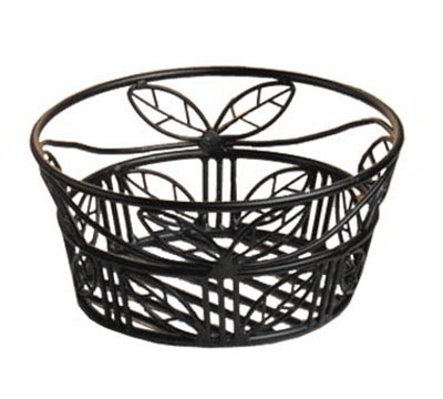 American Metalcraft BLLB94 9-in Bread Basket w/ Leaf Design, Wrought Iron/Black