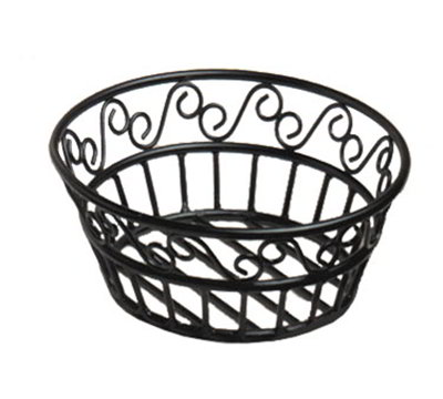 American Metalcraft BLSB80 8-in Bread Basket w/ Scroll Design, Wrought Iron/Black