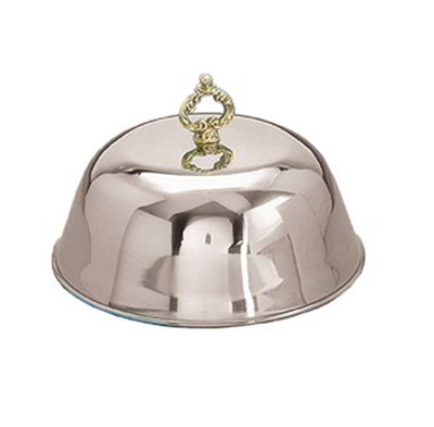 American Metalcraft CL1075 10.75-in Standard Cloche Cover w/ Knob, Mirror Finish, Brass/Chrome