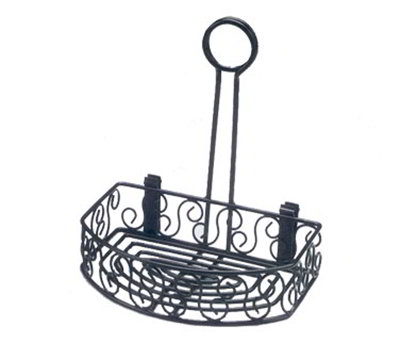 American Metalcraft CRS68 Semi Round Condiment Caddy w/ Scroll Design, Wrought Iron/Black