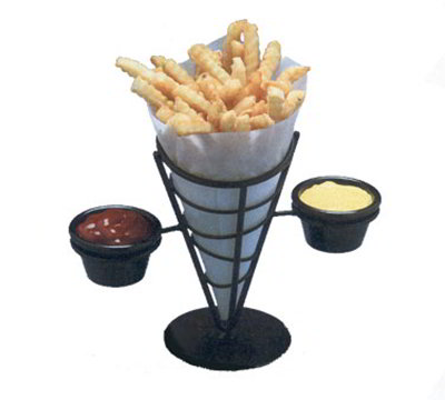American Metalcraft FBC92 Conical French Fry Basket w/ 2-Ramekin, Wrought Iron/Black