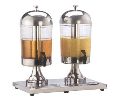 American Metalcraft JUICE2 Double Style Juice Dispenser w/ Two 8.5-qt Capacity Dispenser, Acrylic/Stainless