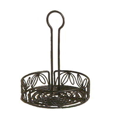American Metalcraft LDCC16 6.25-in Condiment Rack w/ Center Handle & Leaf Design, Wrought Iron/Black