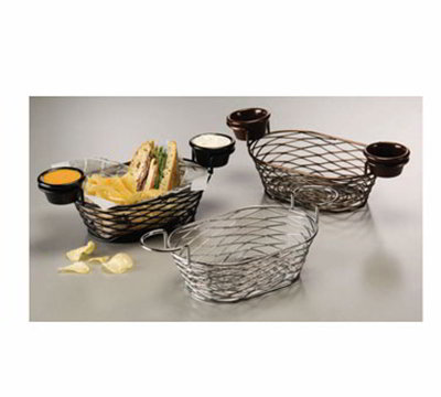American Metalcraft BNBC962 9-in Oblong Wire Basket w/ Ramekin Holder, Chrome