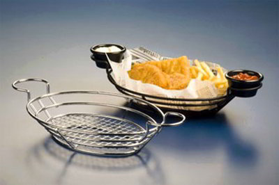 American Metalcraft BSKC118 Oval Wire Basket w/ Ramekin Holder, 11x8-in, Chrome