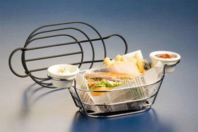 American Metalcraft BSKC69 Oval Wire Basket w/ Ramekin Holder, 6x9-in, Chrome