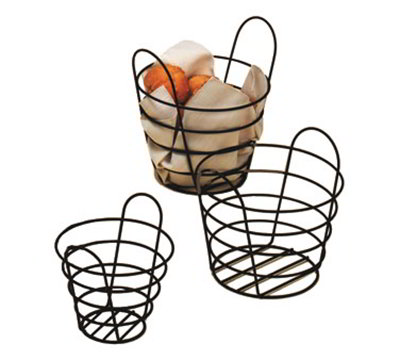 American Metalcraft BWB750 Round Wire Basket, 7x5-in, Black