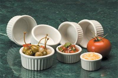 American Metalcraft CRMK1 Fluted Ramekin w/ 1-oz Capacity, Ceramic/White
