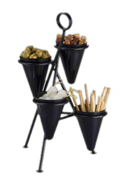 American Metalcraft CSD4 Cone Stand w/ 4-Cone Capacity, Black/Wrought Iron