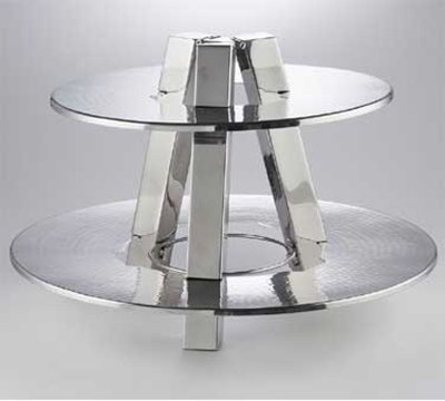 American Metalcraft DTS2013 Round 2-Tier Stand, Hammered, Stainless