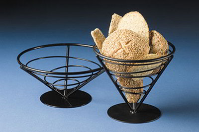 American Metalcraft FBB9 9-in Conical Bread Basket, Wrought Iron/Black