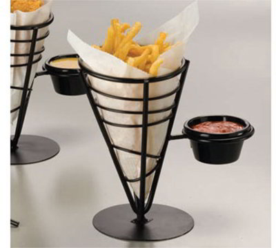 American Metalcraft FBS591 Conical French Fry Basket w/ 1-Ramekin, Wrought Iron/Black