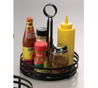 American Metalcraft FWC89 8-in Flat Condiment Basket w/ Slotted Handle, Black