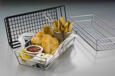 American Metalcraft GCRC1362 Rectangular Tabletop Basket, Chrome