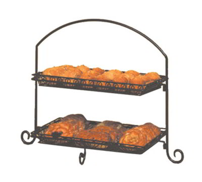 American Metalcraft IS12 2-Tier Rectangular Platter Stand w/ Curled Feet, Lar