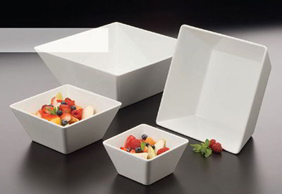 American Metalcraft MELSQ117 12-in Square Bowl, Melamine/White