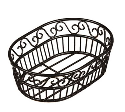 American Metalcraft OSC9 Oval Bread Basket w/ Scroll Design, Wrought Iron/Black