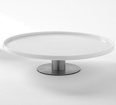 """American Metalcraft PCT12 12"""" Round Tray - Stainless Base/White Porcelain"""