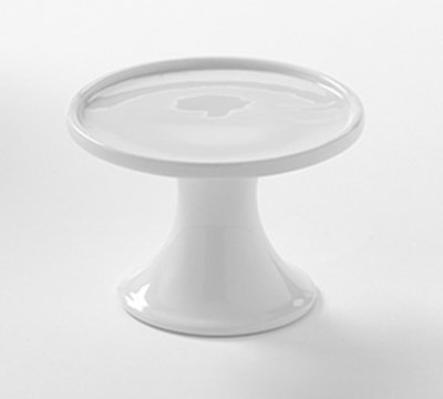 """American Metalcraft PSP4 4"""" Round Serving Stand - White Porcelain"""