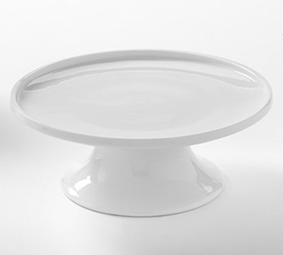 """American Metalcraft PSP8 8"""" Round Serving Stand - White Porcelain"""